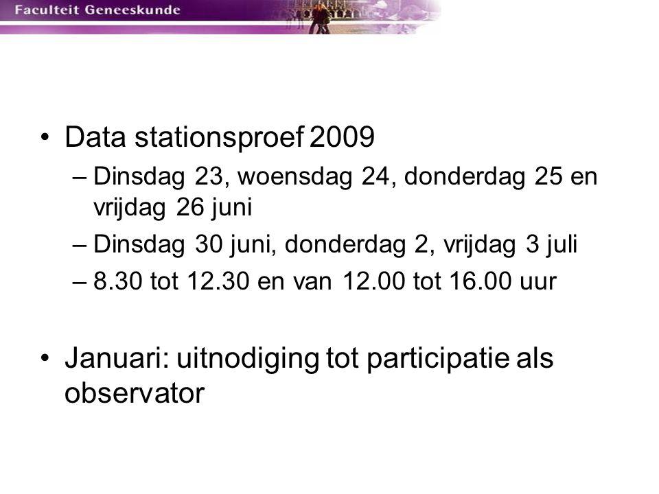 Data stationsproef 2009 –Dinsdag 23, woensdag 24, donderdag 25 en vrijdag 26 juni –Dinsdag 30 juni, donderdag 2, vrijdag 3 juli –8.30 tot 12.30 en van