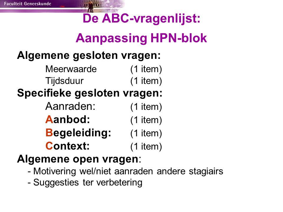 De ABC-vragenlijst: Aanpassing HPN-blok Algemene gesloten vragen: Meerwaarde(1 item) Tijdsduur (1 item) Specifieke gesloten vragen: Aanraden: (1 item)