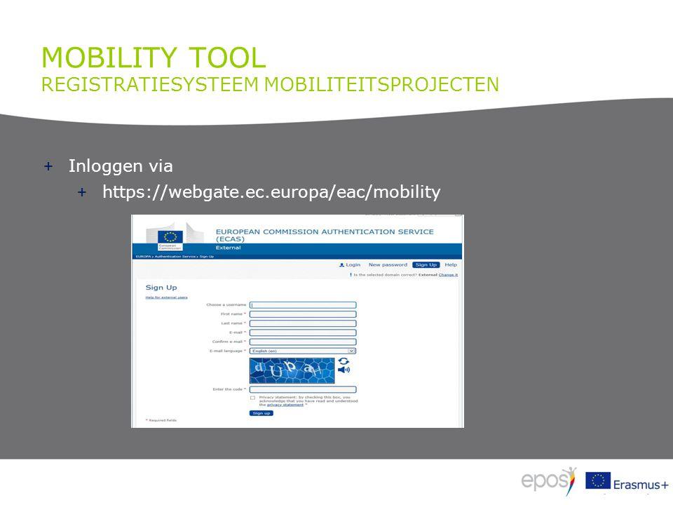 MOBILITY TOOL REGISTRATIESYSTEEM MOBILITEITSPROJECTEN + Inloggen via + https://webgate.ec.europa/eac/mobility