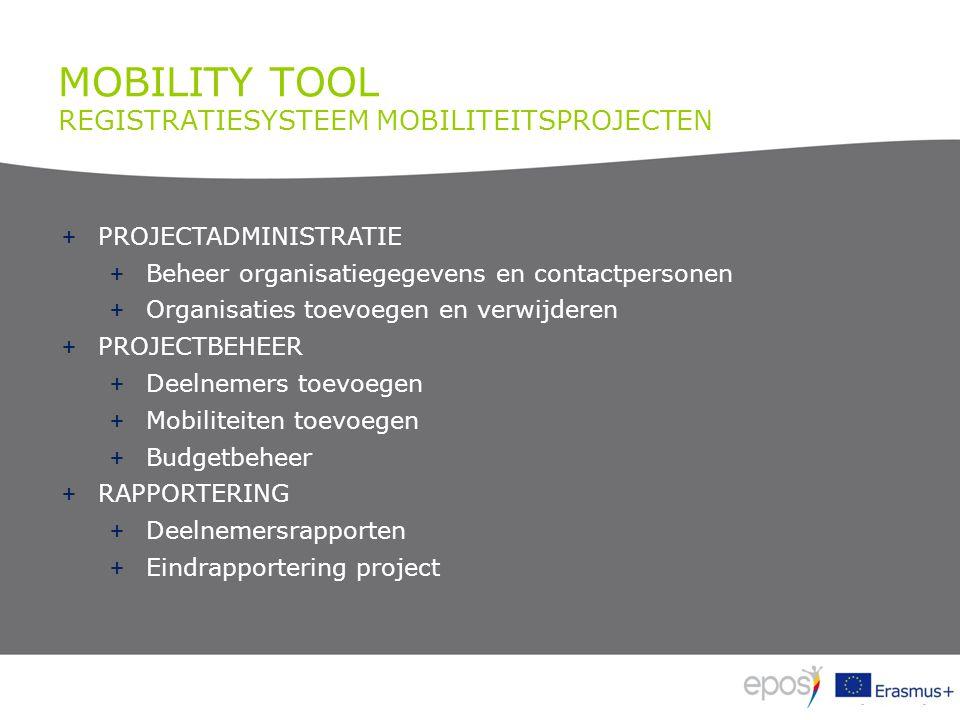 MOBILITY TOOL REGISTRATIESYSTEEM MOBILITEITSPROJECTEN + Inloggen via https://webgate.ec.europa.eu/eac/mobility + https://webgate.ec.europa.eu/eac/mobility https://webgate.ec.europa.eu/eac/mobility