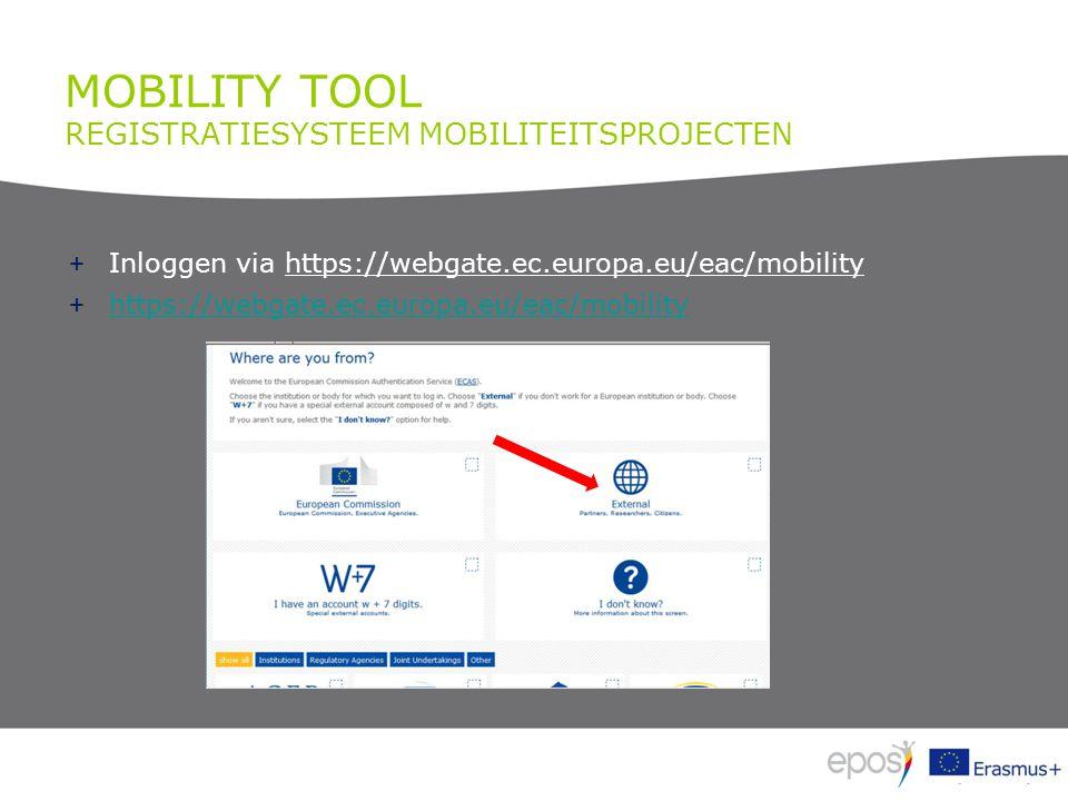 MOBILITY TOOL REGISTRATIESYSTEEM MOBILITEITSPROJECTEN + Inloggen via https://webgate.ec.europa.eu/eac/mobility + https://webgate.ec.europa.eu/eac/mobi