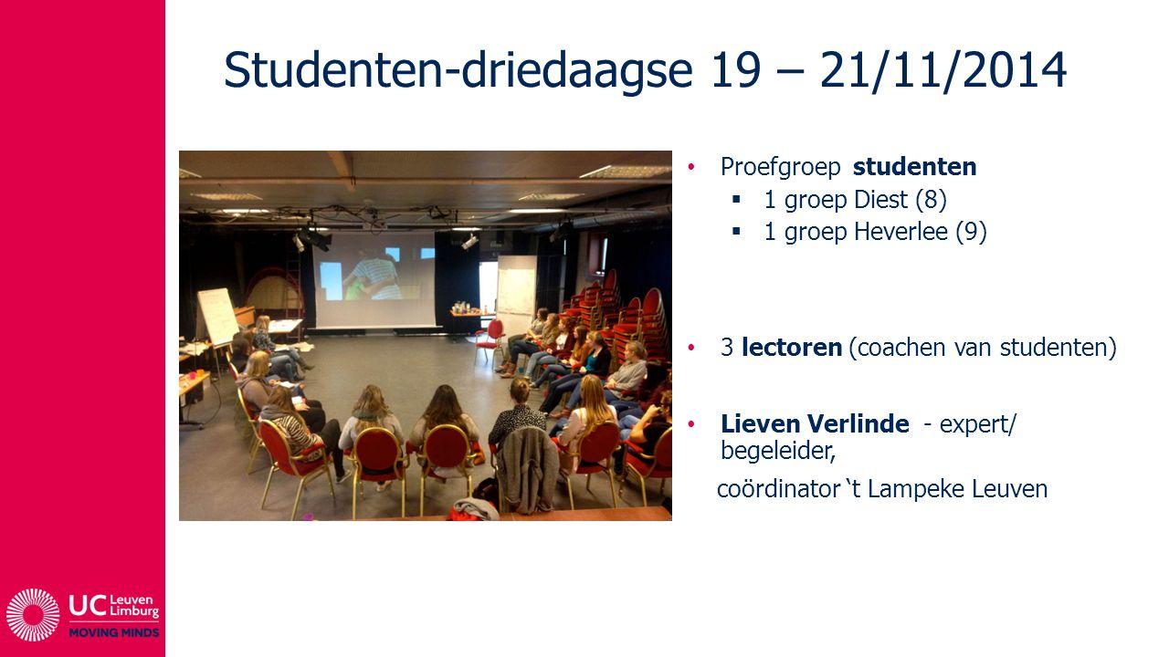 Proefgroep studenten  1 groep Diest (8)  1 groep Heverlee (9) 3 lectoren (coachen van studenten) Lieven Verlinde - expert/ begeleider, coördinator 't Lampeke Leuven Studenten-driedaagse 19 – 21/11/2014