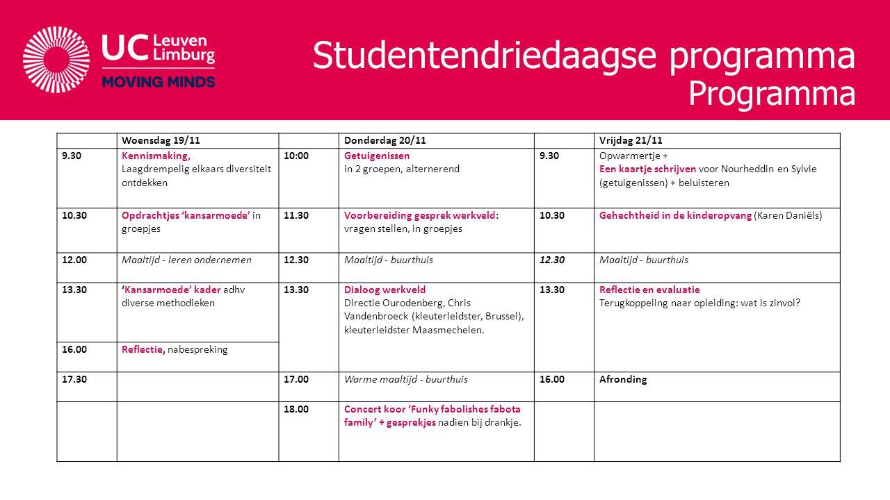Studentendriedaagse programma Programma Woensdag 19/11 Donderdag 20/11 Vrijdag 21/11 9.30Kennismaking, Laagdrempelig elkaars diversiteit ontdekken 10:00Getuigenissen in 2 groepen, alternerend 9.30Opwarmertje + Een kaartje schrijven voor Nourheddin en Sylvie (getuigenissen) + beluisteren 10.30Opdrachtjes 'kansarmoede' in groepjes 11.30Voorbereiding gesprek werkveld: vragen stellen, in groepjes 10.30Gehechtheid in de kinderopvang (Karen Daniëls) 12.00Maaltijd - leren ondernemen12.30Maaltijd - buurthuis12.30Maaltijd - buurthuis 13.30'Kansarmoede' kader adhv diverse methodieken 13.30Dialoog werkveld Directie Ourodenberg, Chris Vandenbroeck (kleuterleidster, Brussel), kleuterleidster Maasmechelen.