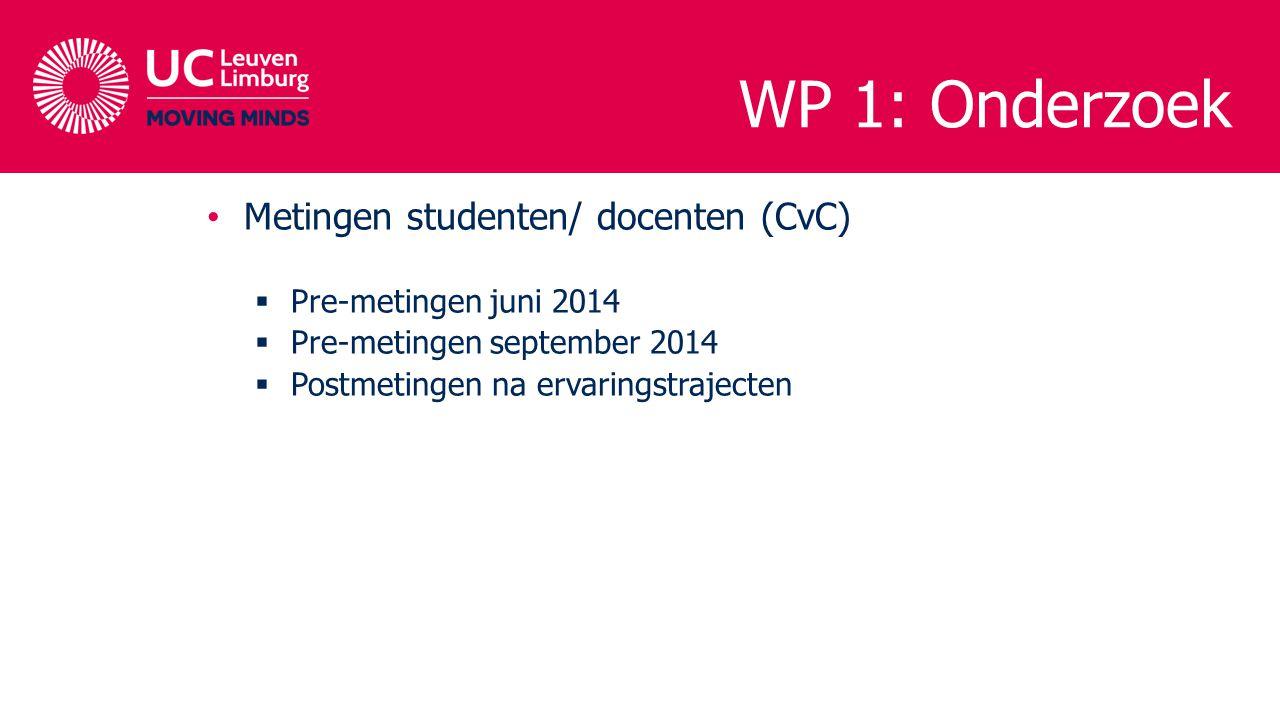 WP 1: Onderzoek Metingen studenten/ docenten (CvC)  Pre-metingen juni 2014  Pre-metingen september 2014  Postmetingen na ervaringstrajecten