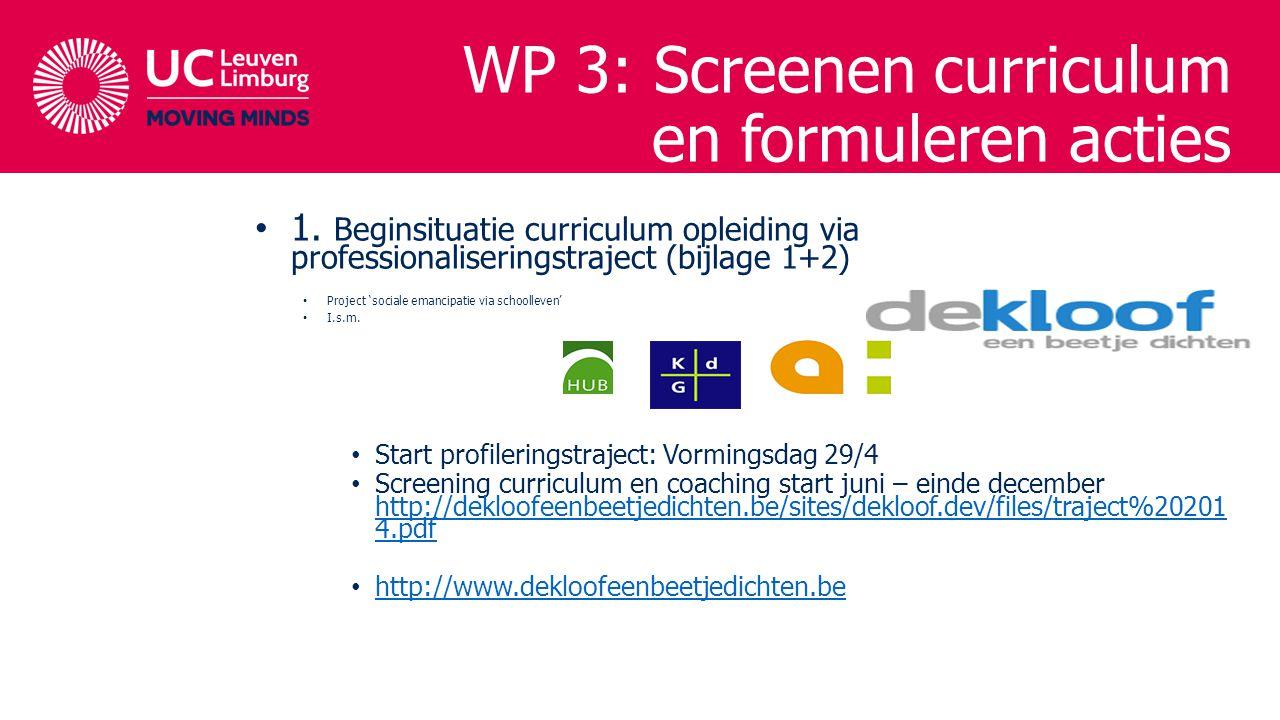 1. Beginsituatie curriculum opleiding via professionaliseringstraject (bijlage 1+2) Project 'sociale emancipatie via schoolleven' I.s.m. Start profile