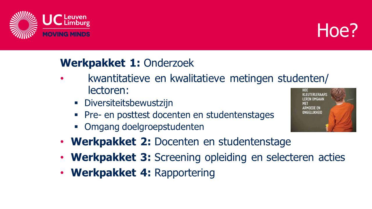 Werkpakket 1: Onderzoek kwantitatieve en kwalitatieve metingen studenten/ lectoren:  Diversiteitsbewustzijn  Pre- en posttest docenten en studentens