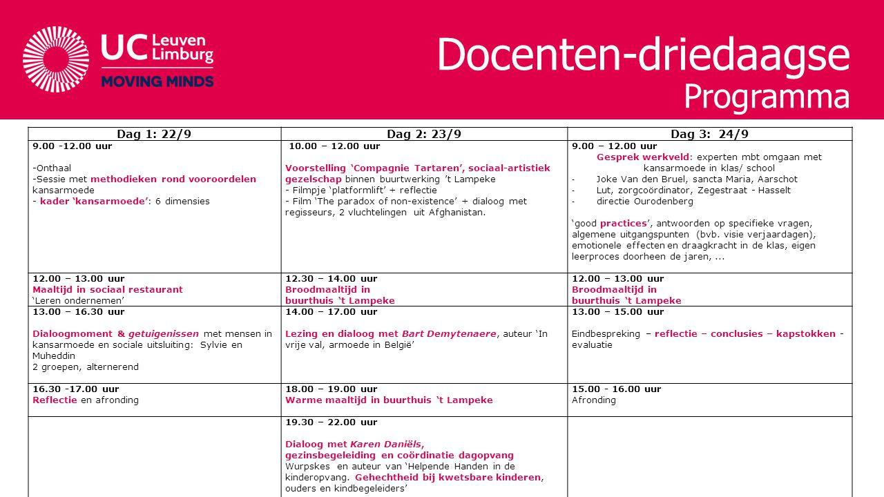 Docenten-driedaagse Programma Dag 1: 22/9Dag 2: 23/9Dag 3: 24/9 9.00 -12.00 uur -Onthaal -Sessie met methodieken rond vooroordelen kansarmoede - kader 'kansarmoede': 6 dimensies 10.00 – 12.00 uur Voorstelling 'Compagnie Tartaren', sociaal-artistiek gezelschap binnen buurtwerking 't Lampeke - Filmpje 'platformlift' + reflectie - Film 'The paradox of non-existence' + dialoog met regisseurs, 2 vluchtelingen uit Afghanistan.