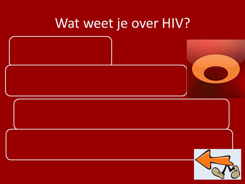 Wat weet je over HIV? Virus Dit virus veroorzaakt AIDS Het virus valt je immuunsysteem aan Overdraagbaar via bloed, sperma of vaginaal vocht