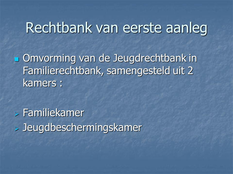 Rechtbank van eerste aanleg Omvorming van de Jeugdrechtbank in Familierechtbank, samengesteld uit 2 kamers : Omvorming van de Jeugdrechtbank in Famili