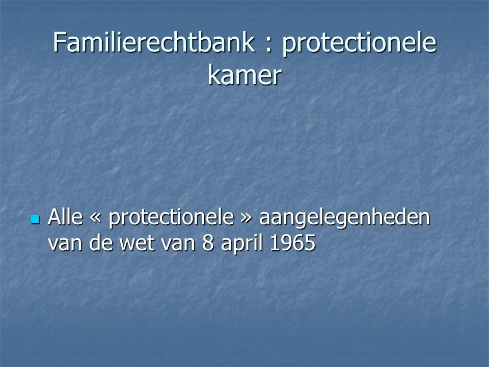Familierechtbank : protectionele kamer Alle « protectionele » aangelegenheden van de wet van 8 april 1965 Alle « protectionele » aangelegenheden van d