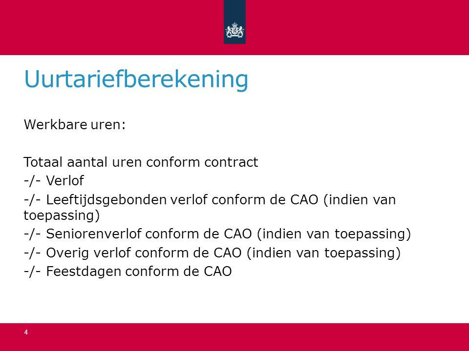 Uurtariefberekening Werkbare uren: Totaal aantal uren conform contract -/- Verlof -/- Leeftijdsgebonden verlof conform de CAO (indien van toepassing)