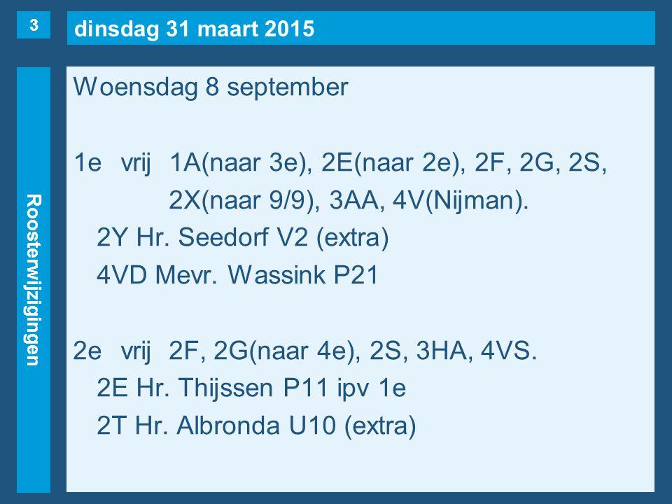 dinsdag 31 maart 2015 Roosterwijzigingen Woensdag 8 september 1evrij1A(naar 3e), 2E(naar 2e), 2F, 2G, 2S, 2X(naar 9/9), 3AA, 4V(Nijman). 2Y Hr. Seedor