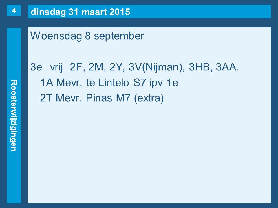 dinsdag 31 maart 2015 Roosterwijzigingen Woensdag 8 september 3evrij2F, 2M, 2Y, 3V(Nijman), 3HB, 3AA. 1A Mevr. te Lintelo S7 ipv 1e 2T Mevr. Pinas M7