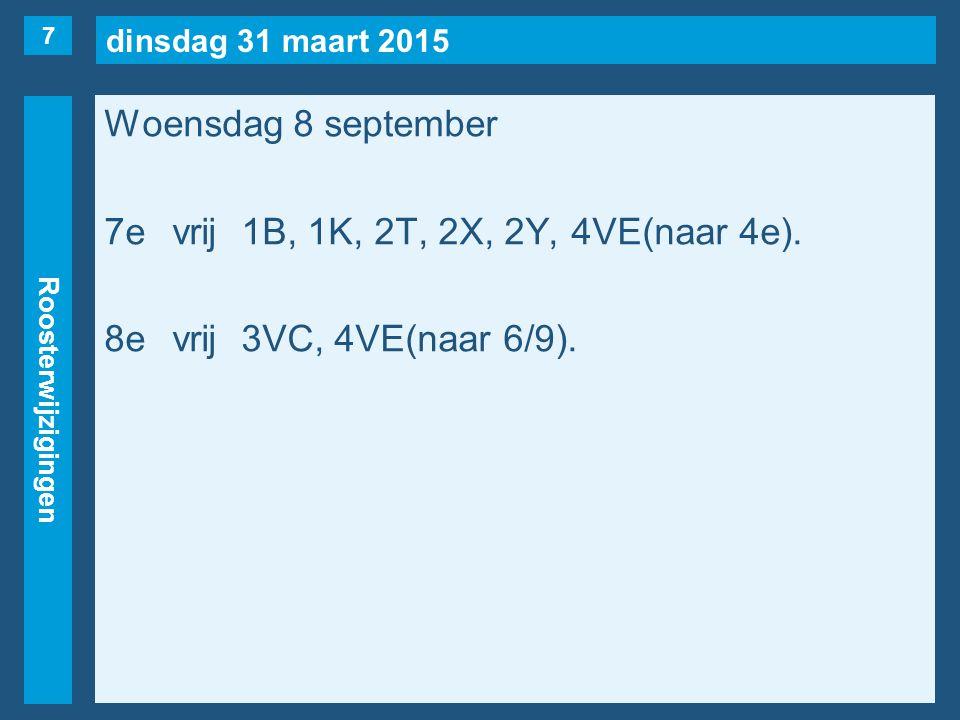 dinsdag 31 maart 2015 Roosterwijzigingen Woensdag 8 september 7evrij1B, 1K, 2T, 2X, 2Y, 4VE(naar 4e). 8evrij3VC, 4VE(naar 6/9). 7