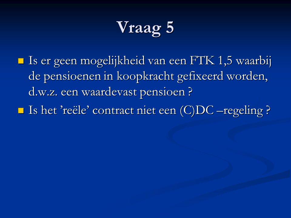 Vraag 5 Is er geen mogelijkheid van een FTK 1,5 waarbij de pensioenen in koopkracht gefixeerd worden, d.w.z.