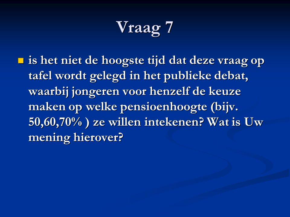 Vraag 7 is het niet de hoogste tijd dat deze vraag op tafel wordt gelegd in het publieke debat, waarbij jongeren voor henzelf de keuze maken op welke pensioenhoogte (bijv.