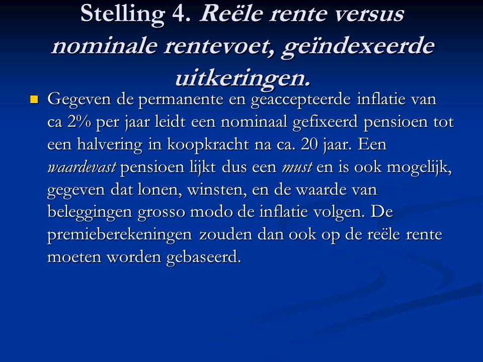 Stelling 4. Reële rente versus nominale rentevoet, geïndexeerde uitkeringen.