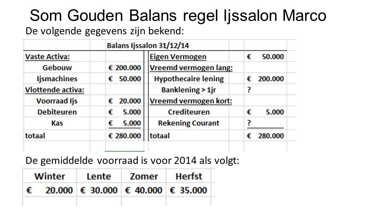 Som Gouden Balans regel Ijssalon Marco De volgende gegevens zijn bekend: De gemiddelde voorraad is voor 2014 als volgt: