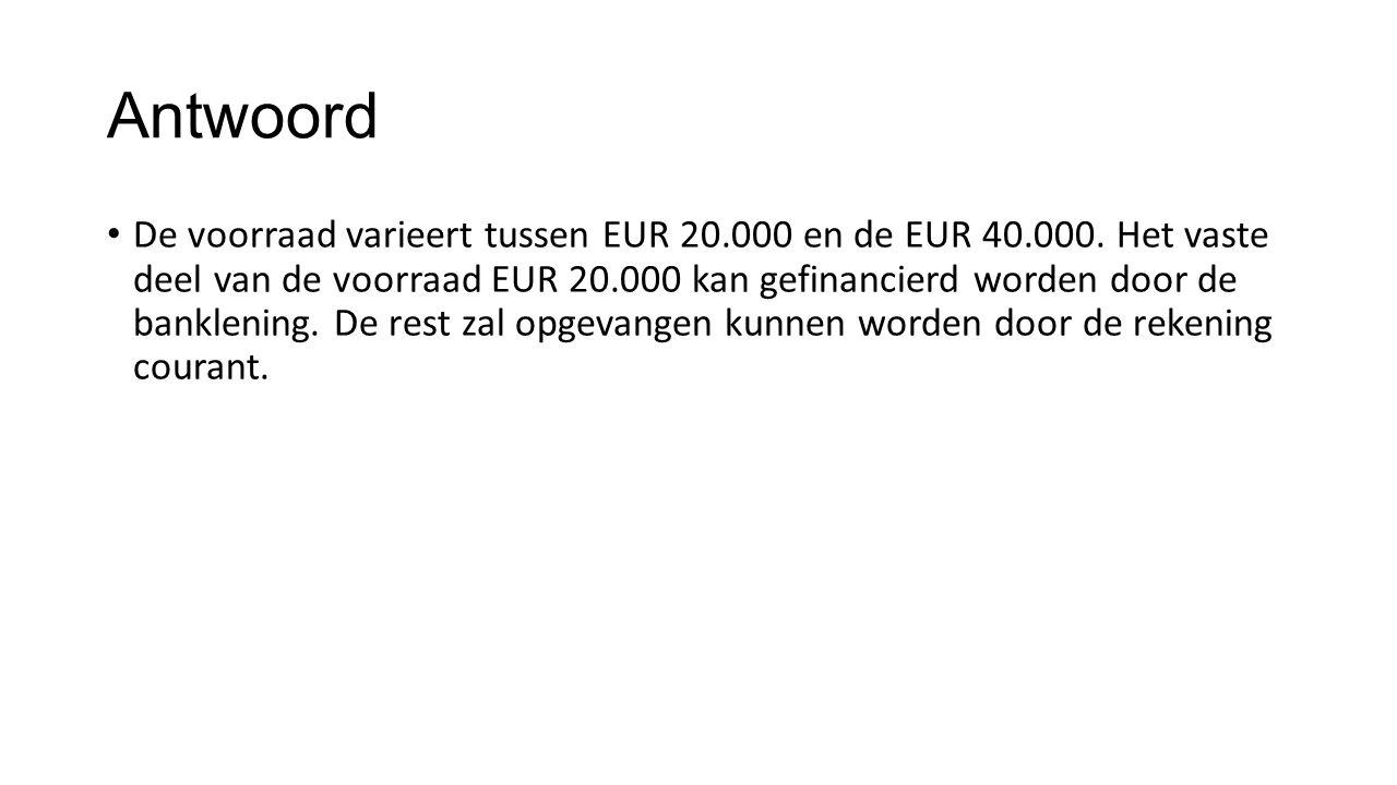 Antwoord De voorraad varieert tussen EUR 20.000 en de EUR 40.000. Het vaste deel van de voorraad EUR 20.000 kan gefinancierd worden door de banklening