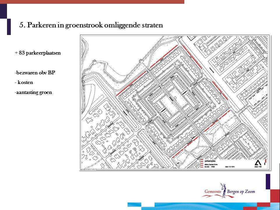 5. Parkeren in groenstrook omliggende straten + 83 parkeerplaatsen -bezwaren obv BP - kosten -aantasting groen
