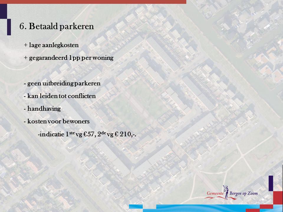 6. Betaald parkeren + lage aanlegkosten + gegarandeerd 1pp per woning - geen uitbreiding parkeren - kan leiden tot conflicten - handhaving - kosten vo