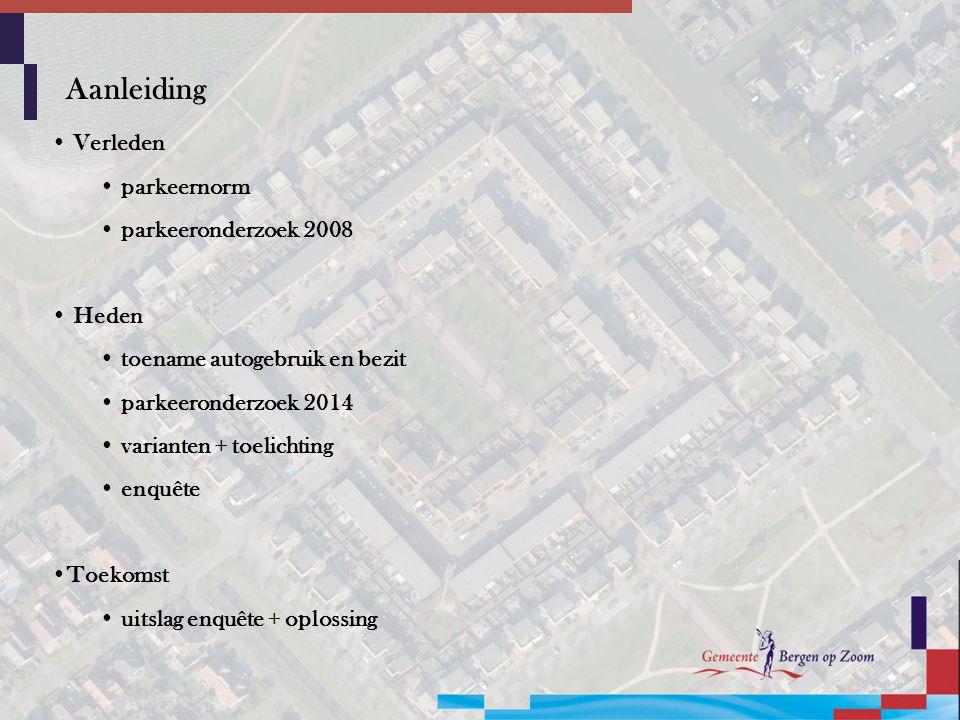 Aanleiding Verleden parkeernorm parkeeronderzoek 2008 Heden toename autogebruik en bezit parkeeronderzoek 2014 varianten + toelichting enquête Toekomst uitslag enquête + oplossing