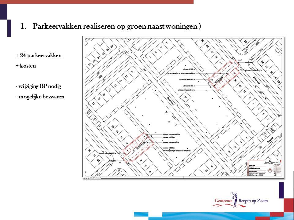 1. Parkeervakken realiseren op groen naast woningen ) + 24 parkeervakken + kosten - wijziging BP nodig - mogelijke bezwaren