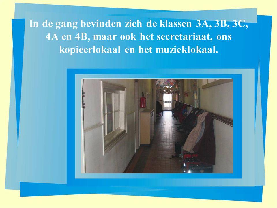 In de gang bevinden zich de klassen 3A, 3B, 3C, 4A en 4B, maar ook het secretariaat, ons kopieerlokaal en het muzieklokaal.