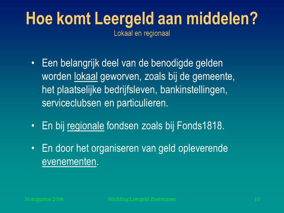 30 augustus 2006Stichting Leergeld Zoetermeer10 Hoe komt Leergeld aan middelen? Lokaal en regionaal Een belangrijk deel van de benodigde gelden worden