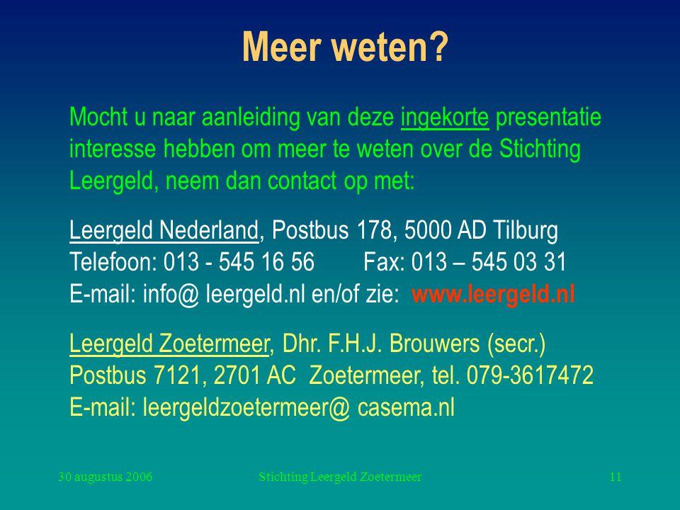 30 augustus 2006Stichting Leergeld Zoetermeer11 Meer weten? Mocht u naar aanleiding van deze ingekorte presentatie interesse hebben om meer te weten o