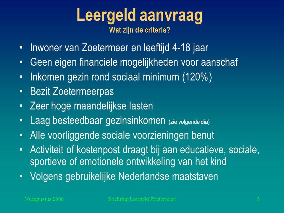 30 augustus 2006Stichting Leergeld Zoetermeer8 Leergeld aanvraag Wat zijn de criteria? Inwoner van Zoetermeer en leeftijd 4-18 jaar Geen eigen financi