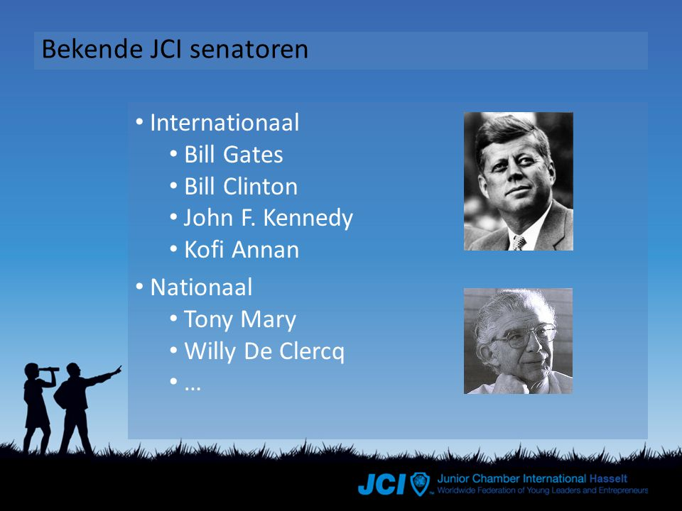 Bekende JCI senatoren Internationaal Bill Gates Bill Clinton John F.
