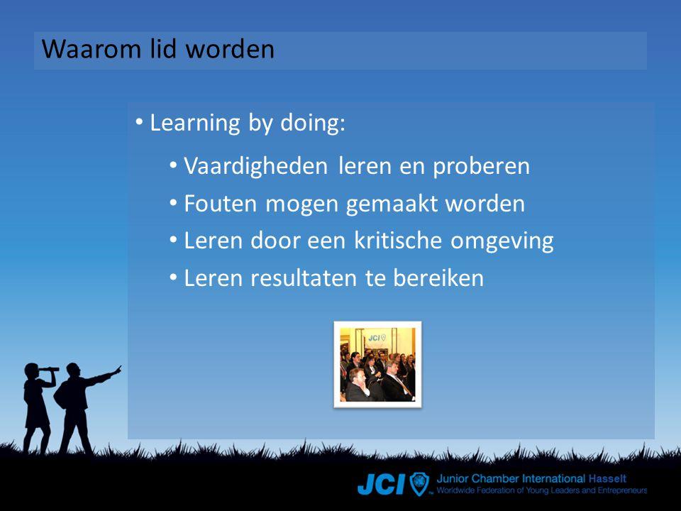 Waarom lid worden Learning by doing: Vaardigheden leren en proberen Fouten mogen gemaakt worden Leren door een kritische omgeving Leren resultaten te bereiken