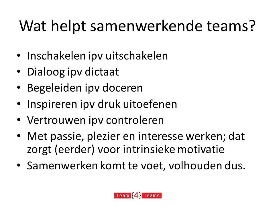 Wat helpt samenwerkende teams? Inschakelen ipv uitschakelen Dialoog ipv dictaat Begeleiden ipv doceren Inspireren ipv druk uitoefenen Vertrouwen ipv c