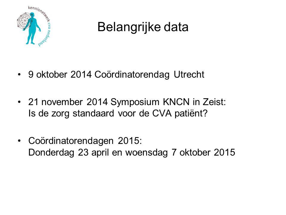 Belangrijke data 9 oktober 2014 Coördinatorendag Utrecht 21 november 2014 Symposium KNCN in Zeist: Is de zorg standaard voor de CVA patiënt? Coördinat