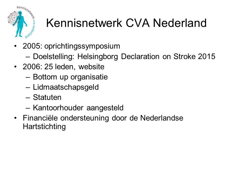 Kennisnetwerk CVA Nederland 2005: oprichtingssymposium –Doelstelling: Helsingborg Declaration on Stroke 2015 2006: 25 leden, website –Bottom up organisatie –Lidmaatschapsgeld –Statuten –Kantoorhouder aangesteld Financiële ondersteuning door de Nederlandse Hartstichting