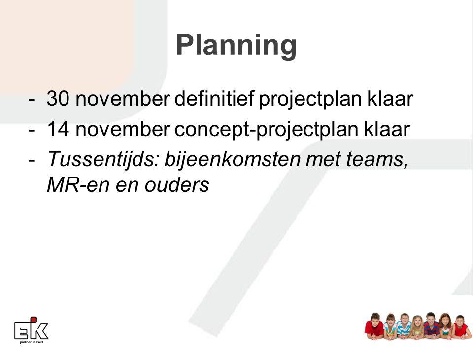 Planning -30 november definitief projectplan klaar -14 november concept-projectplan klaar -Tussentijds: bijeenkomsten met teams, MR-en en ouders