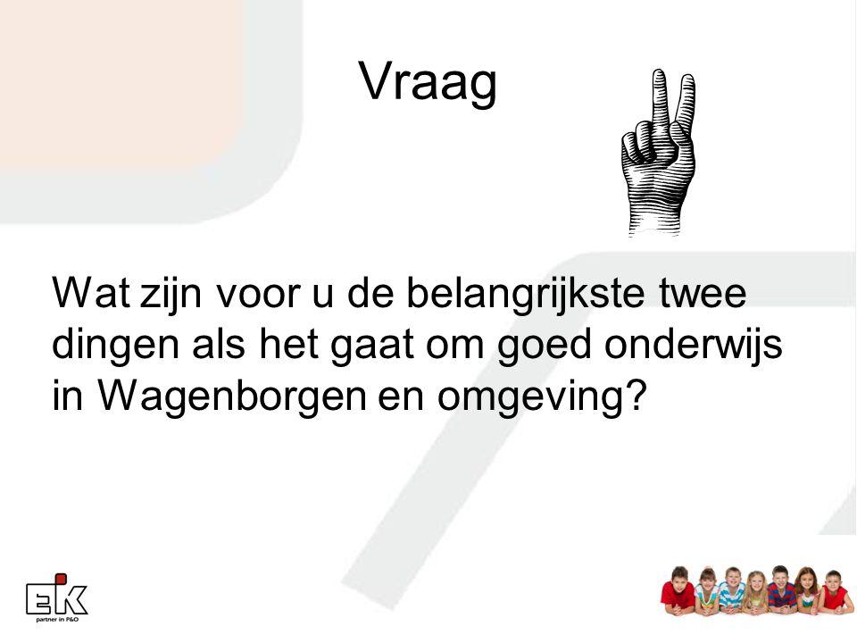 Vraag Wat zijn voor u de belangrijkste twee dingen als het gaat om goed onderwijs in Wagenborgen en omgeving?