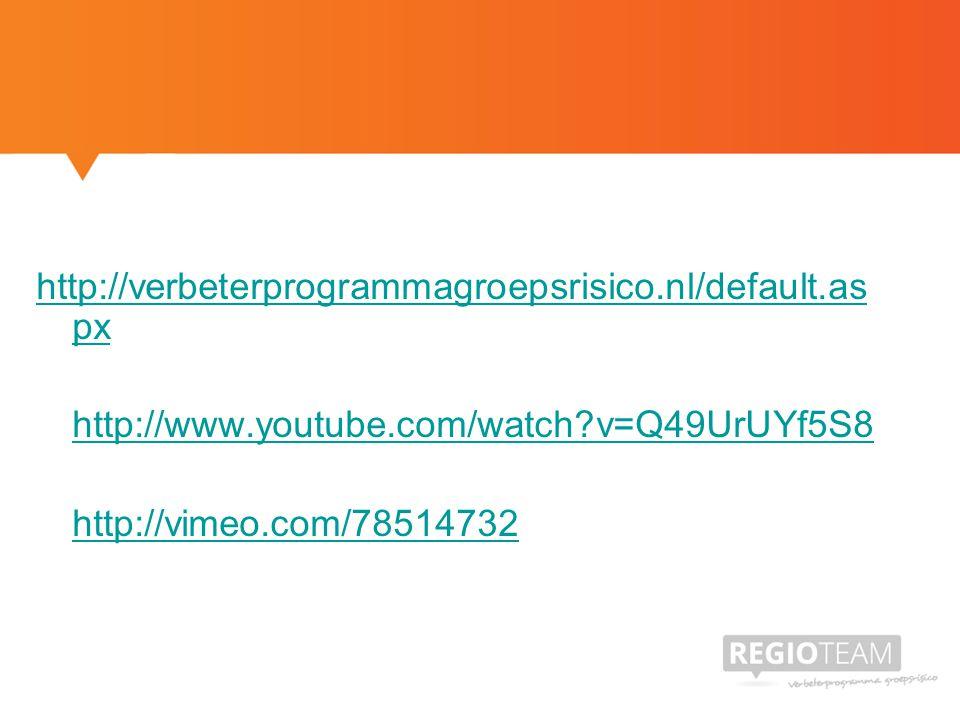 http://verbeterprogrammagroepsrisico.nl/default.as px http://www.youtube.com/watch?v=Q49UrUYf5S8 http://vimeo.com/78514732