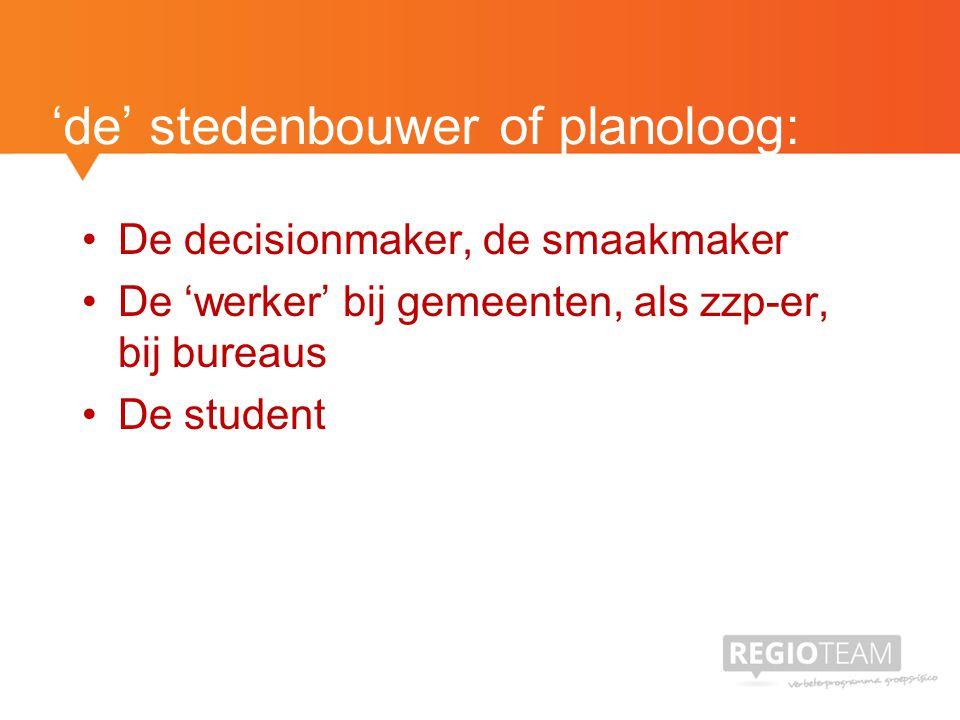 'de' stedenbouwer of planoloog: De decisionmaker, de smaakmaker De 'werker' bij gemeenten, als zzp-er, bij bureaus De student
