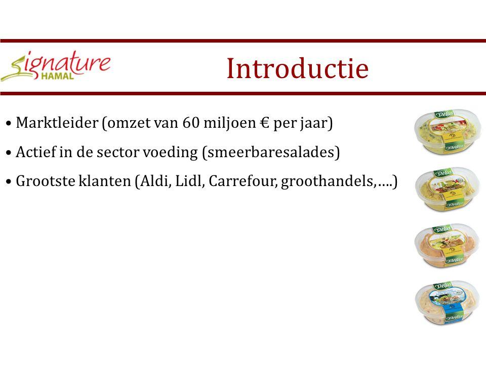 Marktleider (omzet van 60 miljoen € per jaar) Actief in de sector voeding (smeerbaresalades) Grootste klanten (Aldi, Lidl, Carrefour, groothandels,….) Introductie