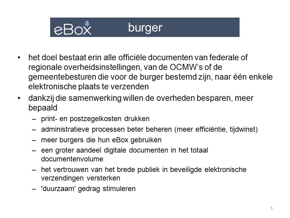 burger publiek-private samenwerking –om het gebruik van de eBox te stimuleren, hebben we eveneens partnerships opgezet om het aantal toegangskanalen uit te breiden –sinds kort is de eBox verbonden met het Doccle-platform indien u uw eBox met Doccle heeft gekoppeld, kunt u gebruik maken van een bijkomend kanaal om uw verschillende documenten te raadplegen die beschikbaar zijn in uw eBox in 2015 zullen we federale en regionale overheidsinstellingen ervan proberen te overtuigen hun officiële documenten via de eBox naar de burger te versturen 6