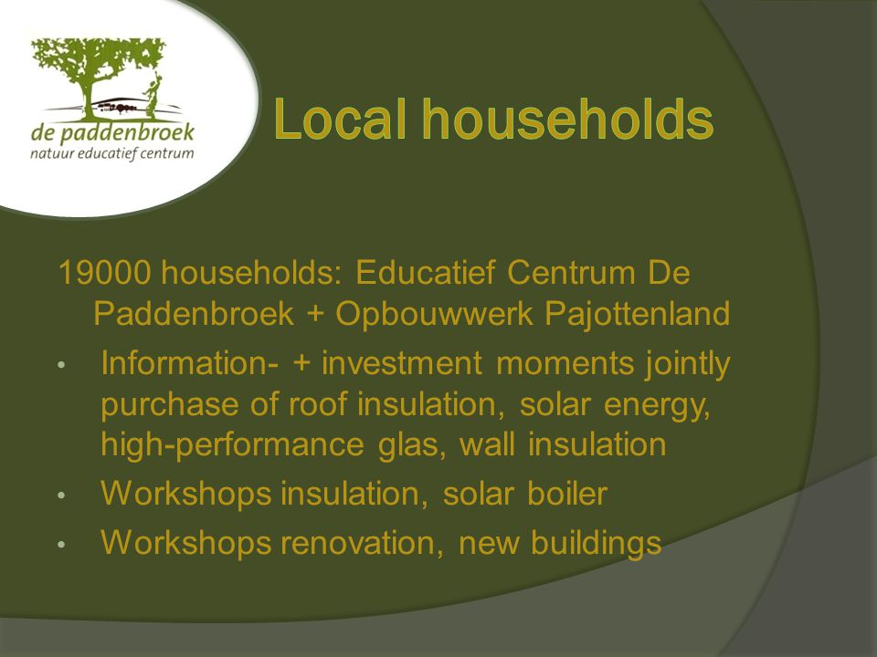 19000 households: Educatief Centrum De Paddenbroek + Opbouwwerk Pajottenland Information- + investment moments jointly purchase of roof insulation, solar energy, high-performance glas, wall insulation Workshops insulation, solar boiler Workshops renovation, new buildings