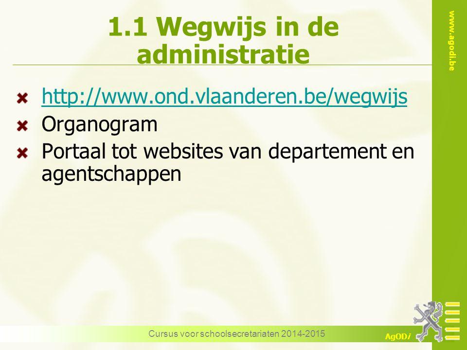 www.agodi.be AgODi Cursus voor schoolsecretariaten 2014-2015 1.1 Wegwijs in de administratie http://www.ond.vlaanderen.be/wegwijs Organogram Portaal tot websites van departement en agentschappen