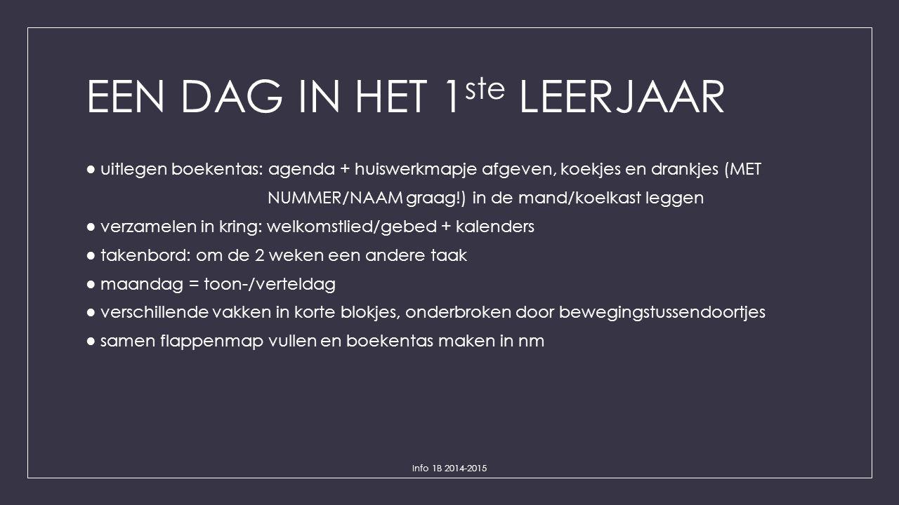 EEN DAG IN HET 1 ste LEERJAAR ● uitlegen boekentas: agenda + huiswerkmapje afgeven, koekjes en drankjes (MET NUMMER/NAAM graag!) in de mand/koelkast l