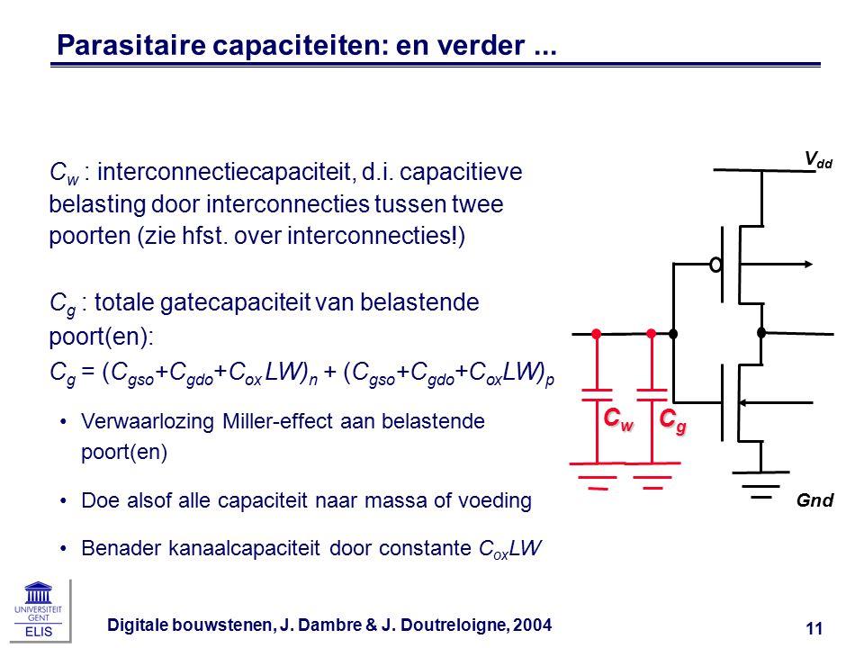 Digitale bouwstenen, J. Dambre & J. Doutreloigne, 2004 11 Parasitaire capaciteiten: en verder... Gnd V dd CwCwCwCw C w : interconnectiecapaciteit, d.i