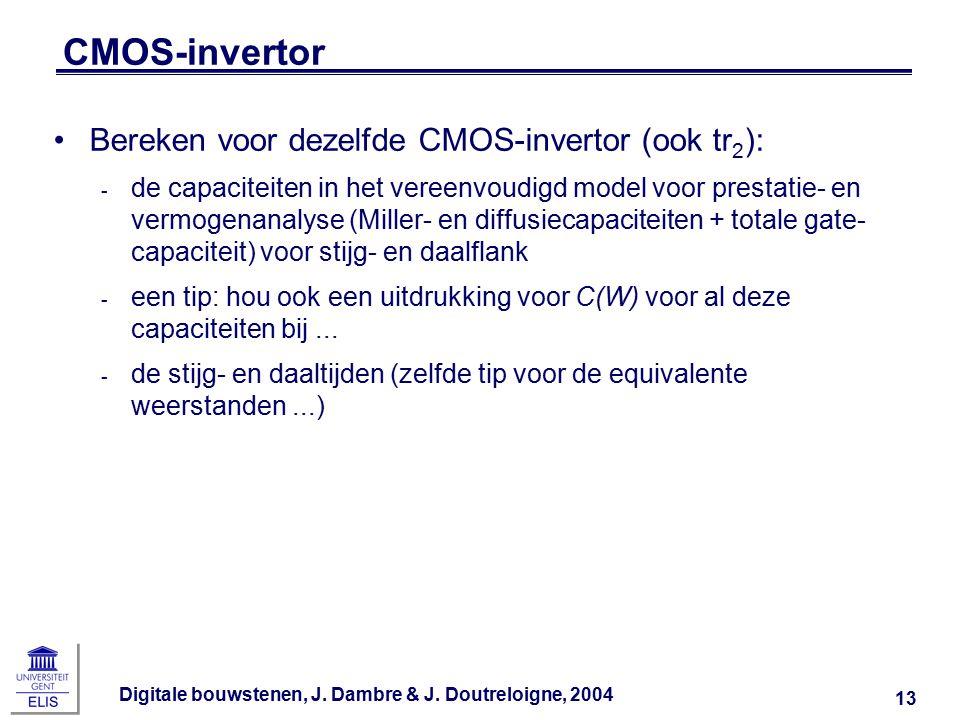 Digitale bouwstenen, J. Dambre & J. Doutreloigne, 2004 13 CMOS-invertor Bereken voor dezelfde CMOS-invertor (ook tr 2 ): ‑ de capaciteiten in het vere