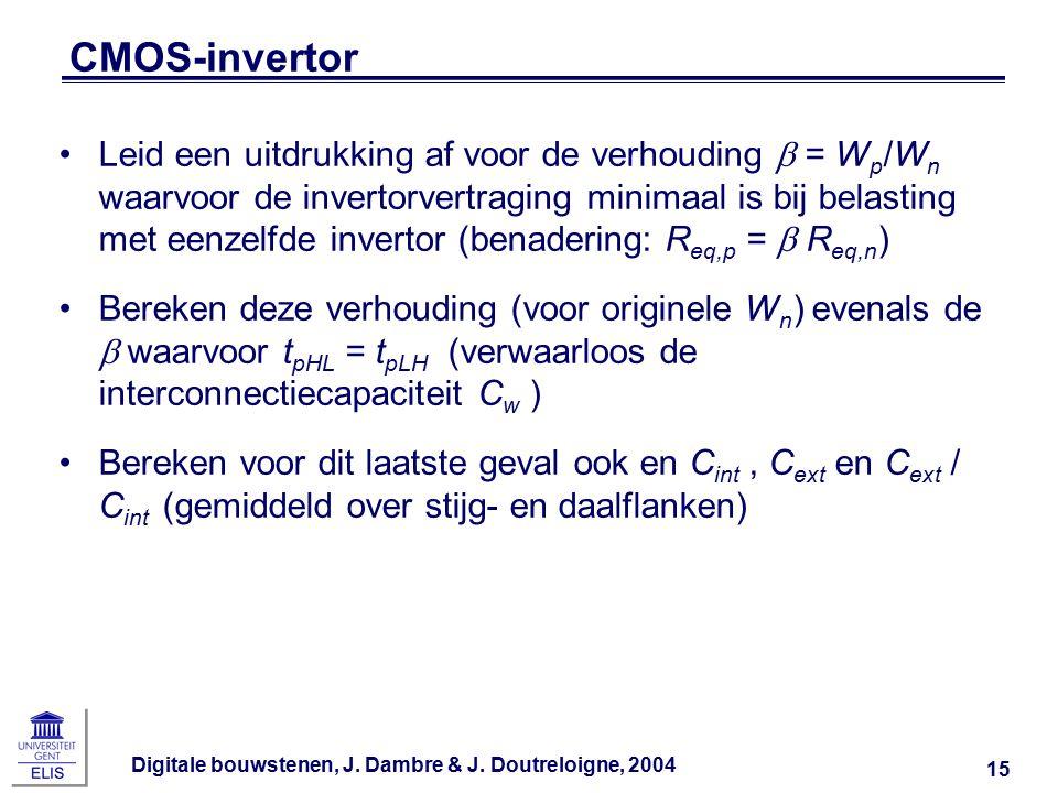 Digitale bouwstenen, J. Dambre & J. Doutreloigne, 2004 15 CMOS-invertor Leid een uitdrukking af voor de verhouding  = W p /W n waarvoor de invertorve