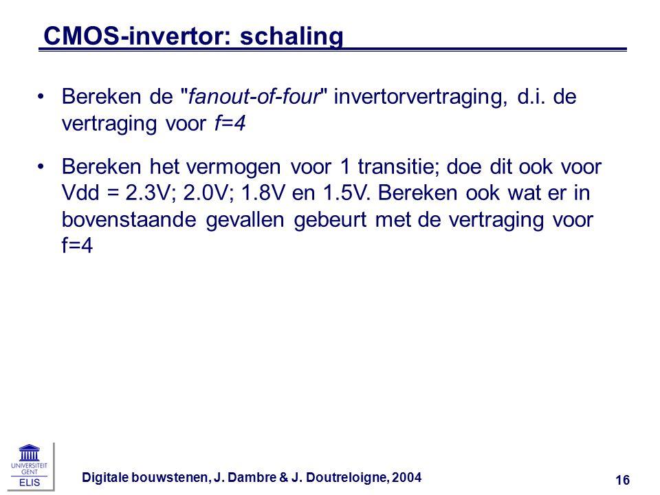 Digitale bouwstenen, J. Dambre & J. Doutreloigne, 2004 16 CMOS-invertor: schaling Bereken de