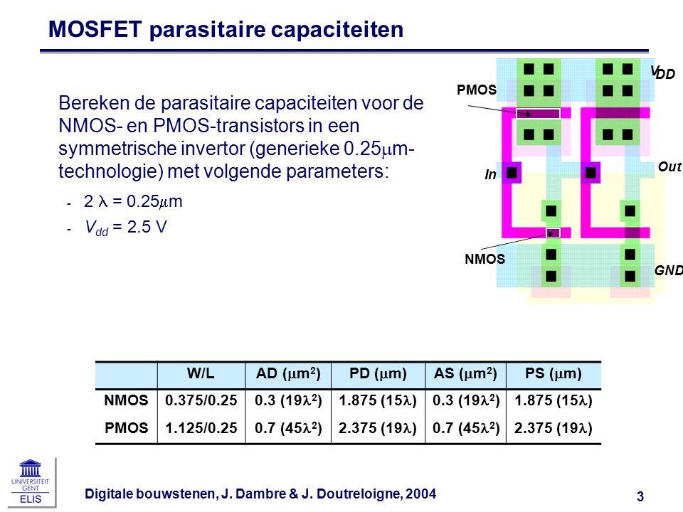 Digitale bouwstenen, J. Dambre & J. Doutreloigne, 2004 3 Bereken de parasitaire capaciteiten voor de NMOS- en PMOS-transistors in een symmetrische inv